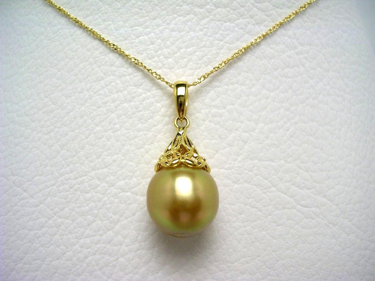 真珠 ペンダント パール 白蝶真珠 11.5mm ゴールド(ナチュラル) シルバー 64573 イソワパール
