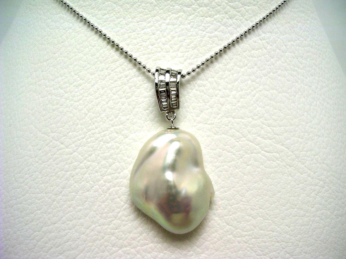【10%OFF】真珠 ペンダント パール 淡水真珠 18.5×23.8mm ホワイトピンク シルバー 64606 イソワパール