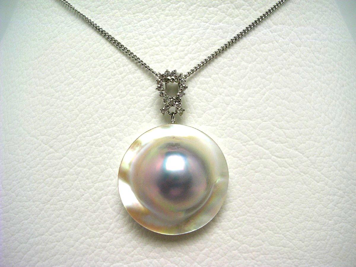 真珠 ペンダントトップ パール マベ真珠 22.9mm(全体の大きさ) ホワイトシルバーブルー シルバー 64619 イソワパール