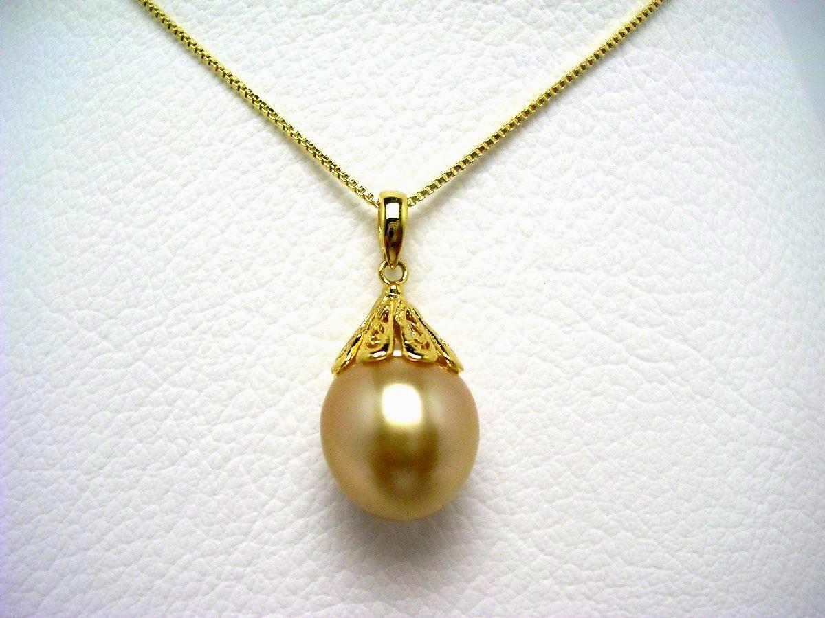 【10%OFF】真珠 ペンダント パール 白蝶真珠 13.2mm ゴールド(ナチュラル) シルバー 64629 イソワパール