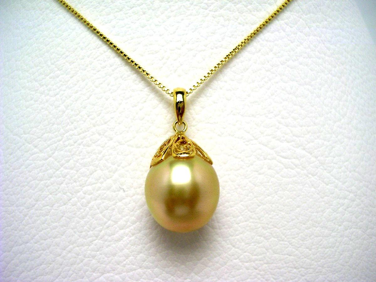 真珠 ペンダント パール 白蝶真珠 13.2mm ゴールド(ナチュラル) シルバー 64642 イソワパール