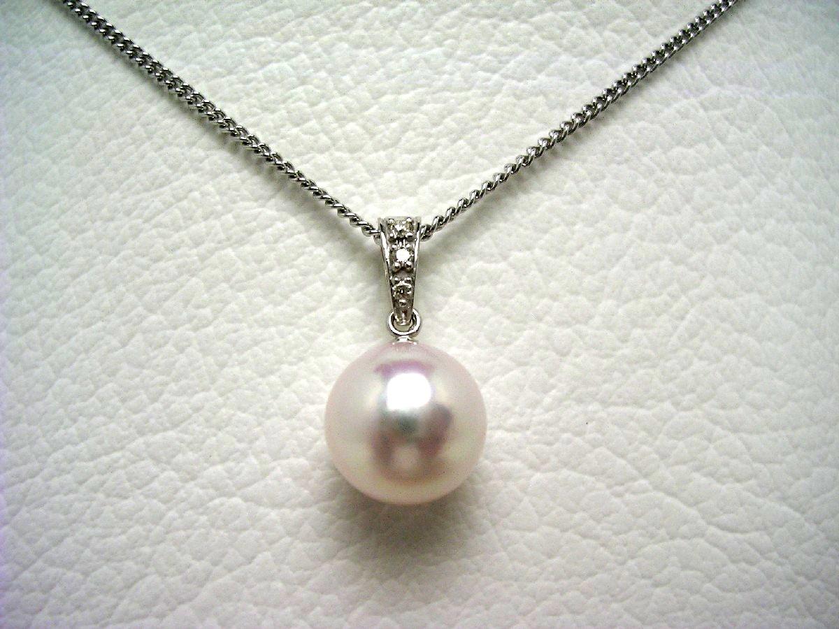 真珠 ペンダントトップ パール アコヤ真珠 9.3mm ホワイトピンク K18 ホワイトゴールド ダイヤモンド 0.03ct 64650 イソワパール