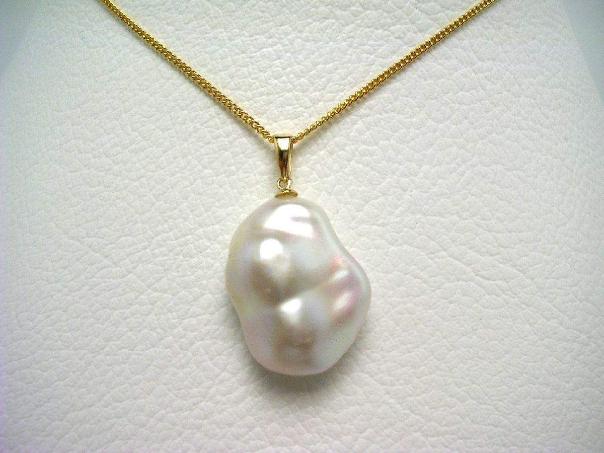 真珠 ペンダントトップ パール 淡水真珠 17.0×22.0mm ホワイトピンク K18 イエローゴールド 64661 イソワパール