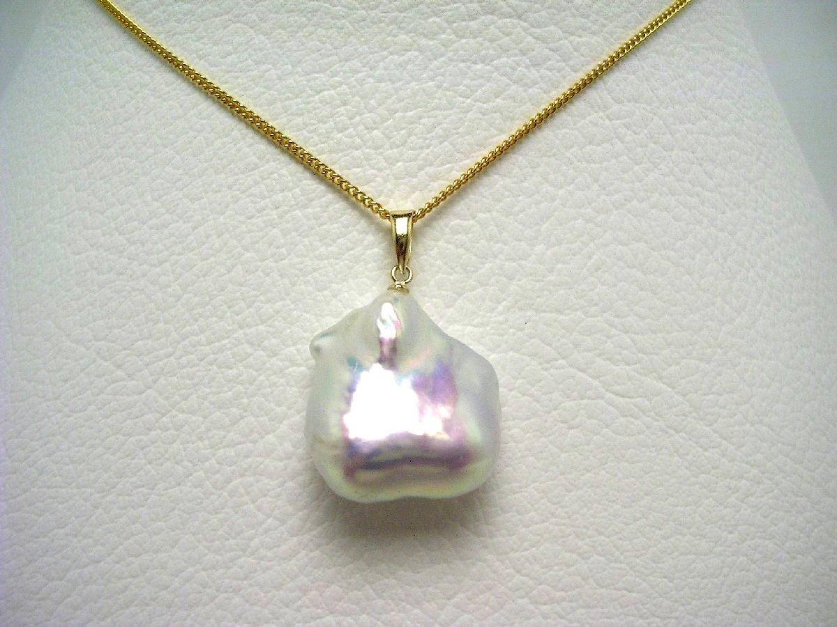 真珠 ペンダントトップ パール 淡水真珠 18.6×19.7mm ホワイトピンク K18 イエローゴールド 64663 イソワパール