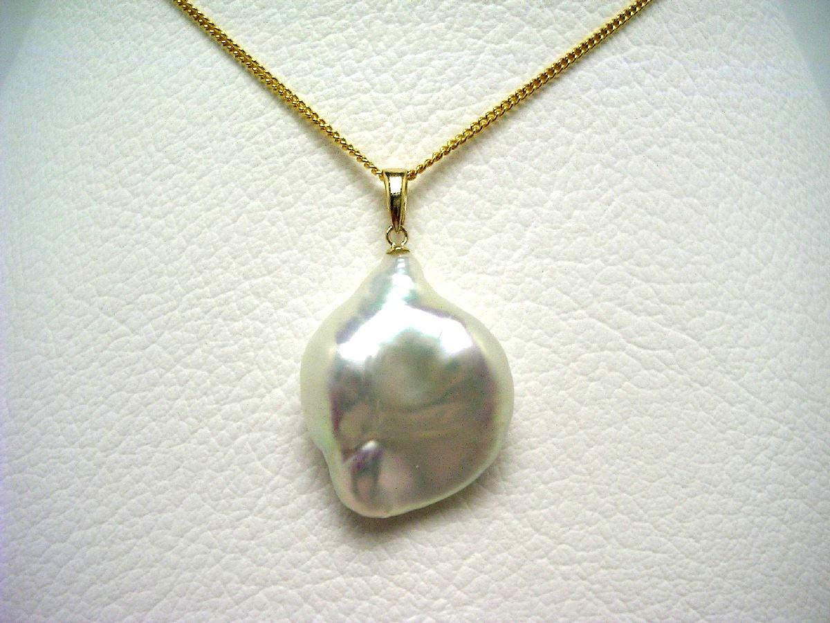 【10%OFF】真珠 ペンダントトップ パール 淡水真珠 18.7×24.1mm ホワイトピンク K18 イエローゴールド 64665 イソワパール