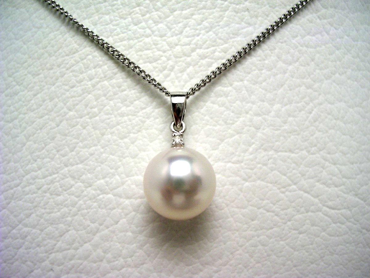 【10%OFF】真珠 ペンダントトップ パール アコヤ真珠 9.1mm ホワイトピンク K18 ホワイトゴールド ダイヤモンド 0.01ct 64852 イソワパール