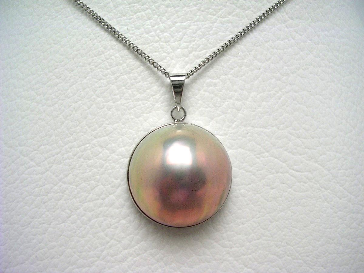 真珠 ペンダントトップ パール マベ真珠 約18mm ホワイトバイオレット K14 ホワイトゴールド 64946 イソワパール