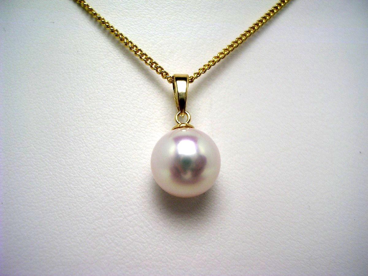 真珠 ペンダントトップ パール アコヤ真珠 8.9mm ホワイトピンク K18 イエローゴールド 57174 イソワパール