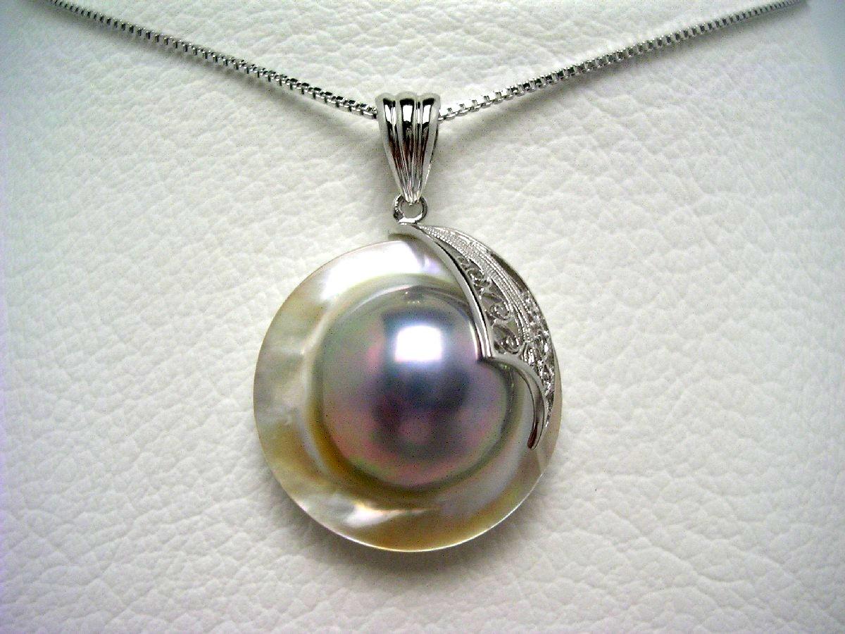 真珠 ペンダント パール マベ真珠 22.3cm ホワイトブルー シルバー 65016 イソワパール
