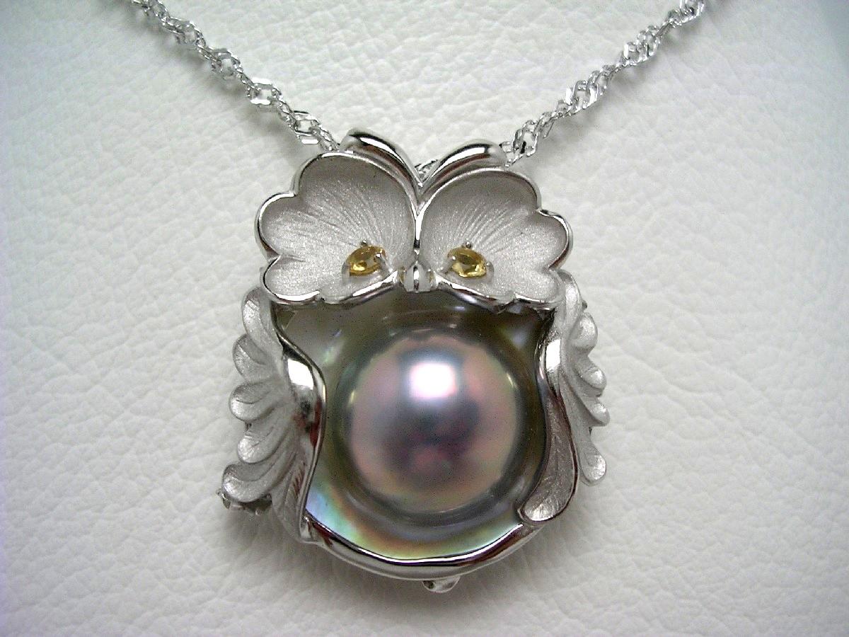 真珠 ペンダント パール マベ真珠 13.8mm シルバーブルー シルバー シトリン (黄水晶) 鳥 65129 イソワパール