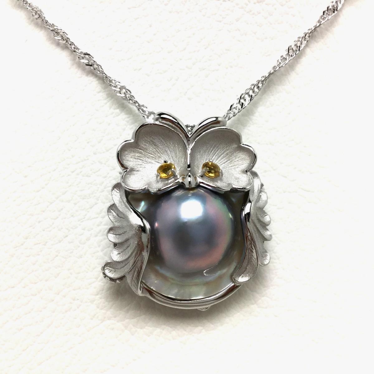 【10%OFF】真珠 ペンダント パール マベ真珠 14.7mm シルバーブルー シルバー シトリン (黄水晶) 鳥 65402 イソワパール