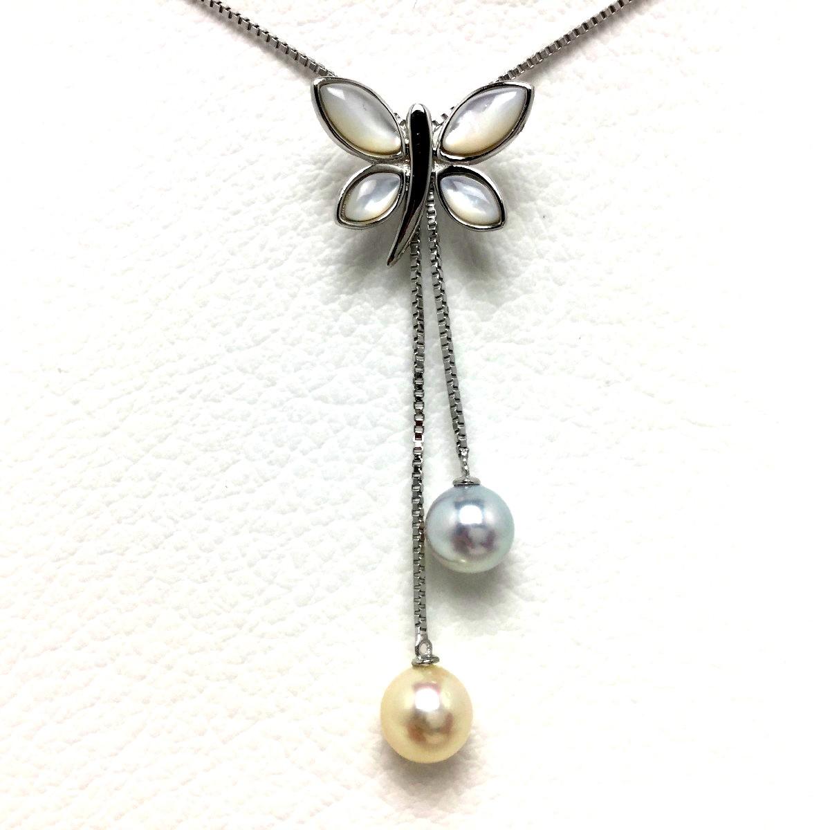 真珠 ペンダント パール アコヤ真珠 6.5-7.0mm マルチカラー シルバー 蝶々 シェル 65986 イソワパール