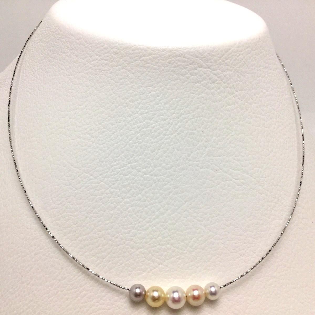 真珠 ペンダント パール アコヤ真珠 5.4-6.8mm マルチカラー シルバー オメガタイプスライド付きチェーン 66018 イソワパール