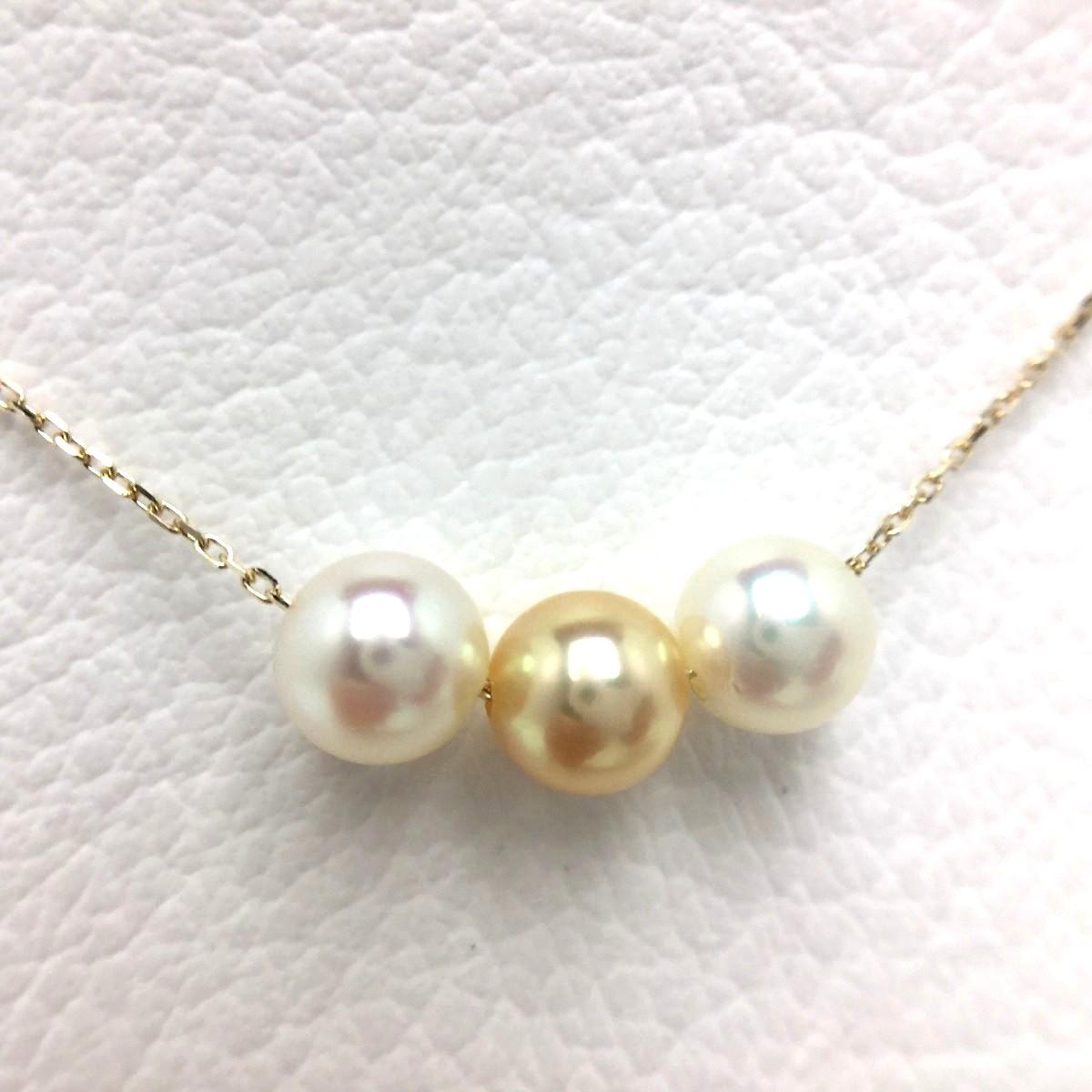 真珠 ペンダント パール アコヤ真珠 6.0-6.5mm マルチカラー K10 イエローゴールド チェーン 66024 イソワパール