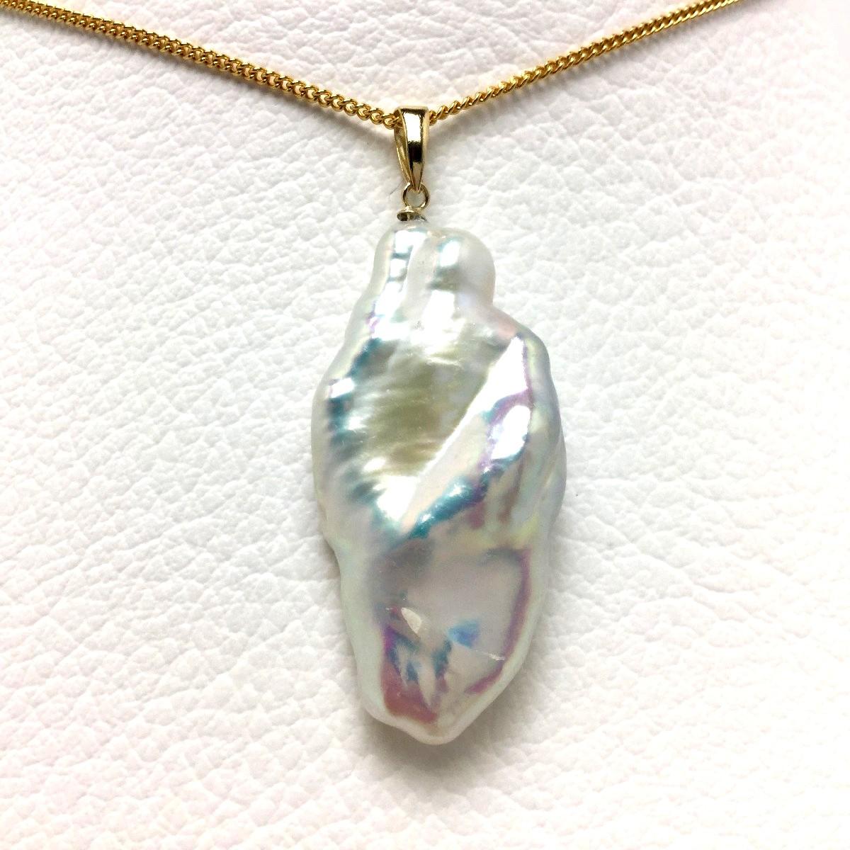 真珠 ペンダントトップ パール 淡水真珠 17.8×35mm ホワイトピンク K18 イエローゴールド 66027 イソワパール