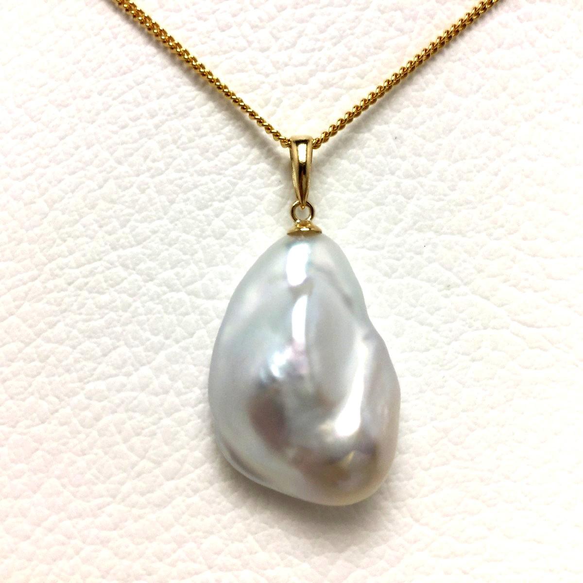【10%OFF】真珠 ペンダントトップ パール 淡水真珠 16.2×23.5mm ホワイトピンク K18 イエローゴールド 66046 イソワパール