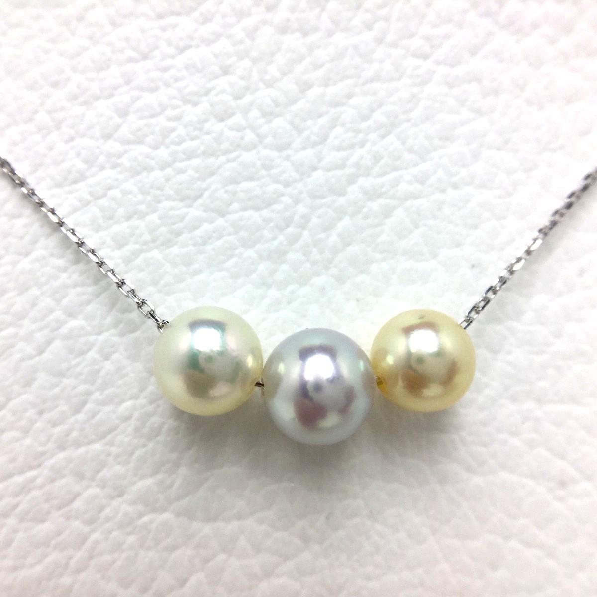 【10%OFF】真珠 ペンダント パール アコヤ真珠 6.0-7.0mm マルチカラー K10 ホワイトゴールド チェーン 66054 イソワパール