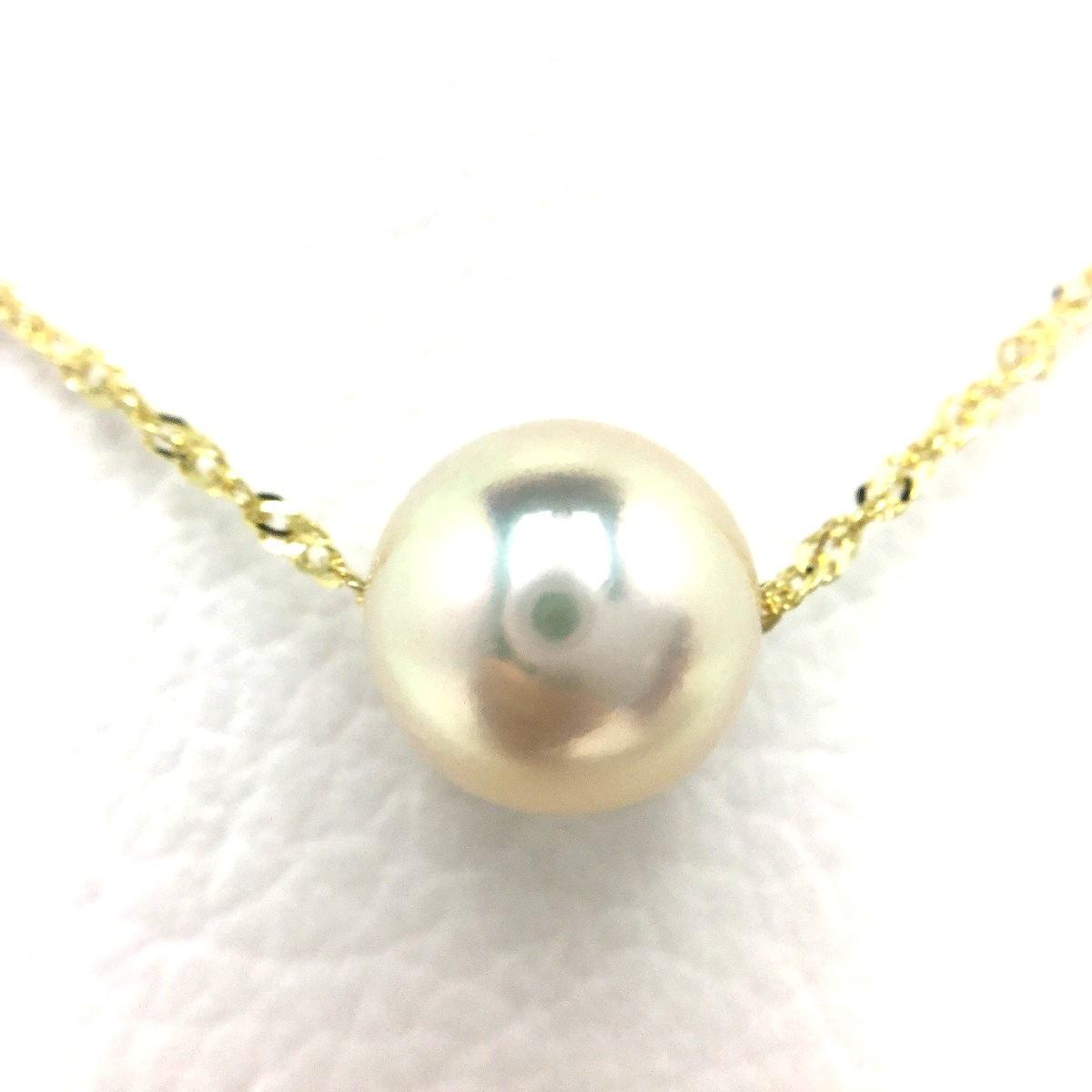 真珠 ペンダント パール アコヤ真珠 9.44mm ホワイトピンク K18 イエローゴールド チェーン 66376 イソワパール