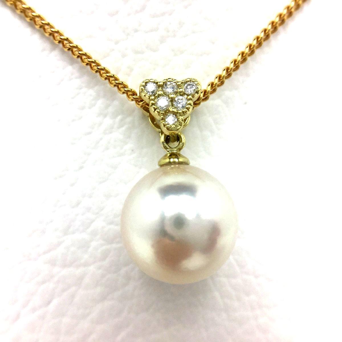 真珠 ペンダントトップ パール アコヤ真珠 9.86mm ホワイトピンク K18 イエローゴールド ダイヤモンド 0.05ct 66622 イソワパール