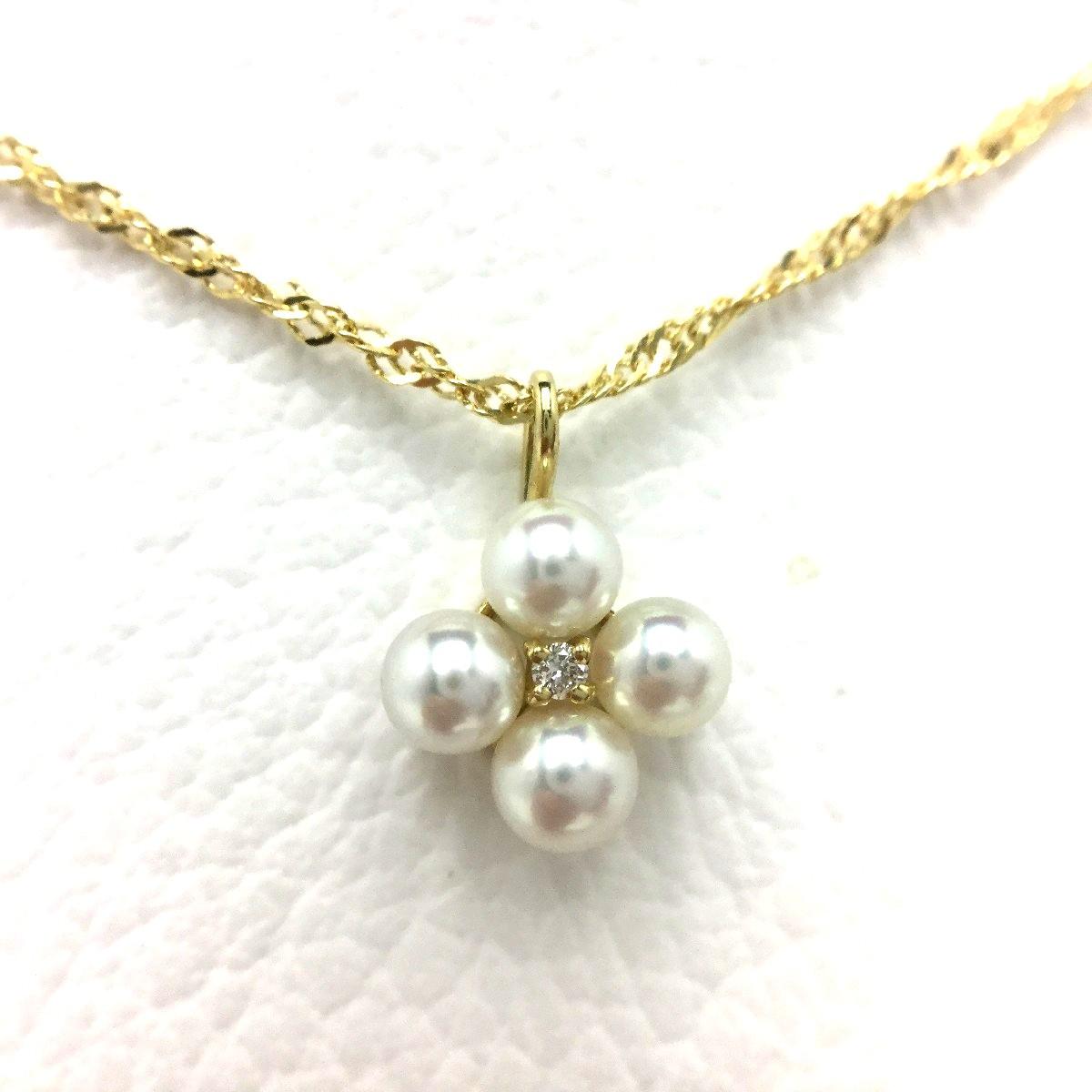真珠 ペンダント パール アコヤ真珠 約3.7mm ホワイトピンク K18 イエローゴールド 0.01ct 植物 フラワー 66725 イソワパール