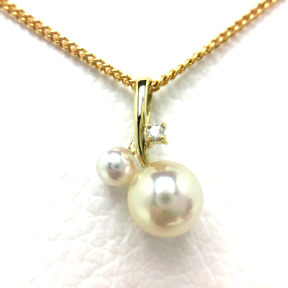 【10%OFF】真珠 ペンダントトップ パール アコヤ真珠 6.5mm・3.6mm ホワイトピンク K18 イエローゴールド 0.01ct 66813 イソワパール