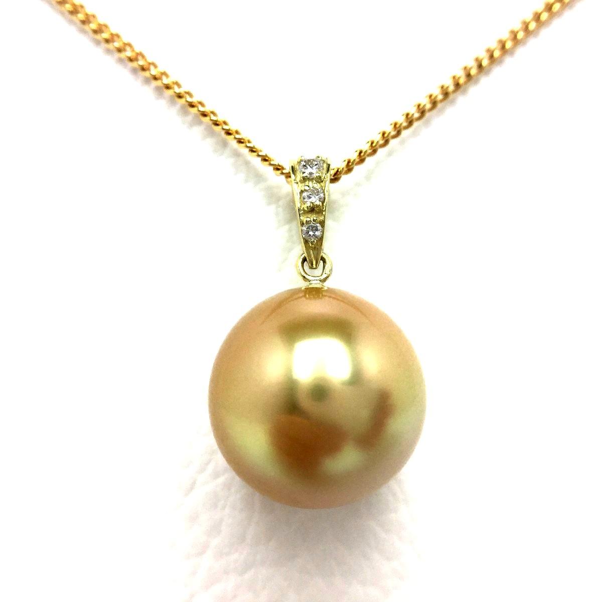 真珠 ペンダントトップ パール 白蝶真珠 12.3mm ゴールド(ナチュラル) K18 イエローゴールド ダイヤモンド 0.03ct 66828 イソワパール