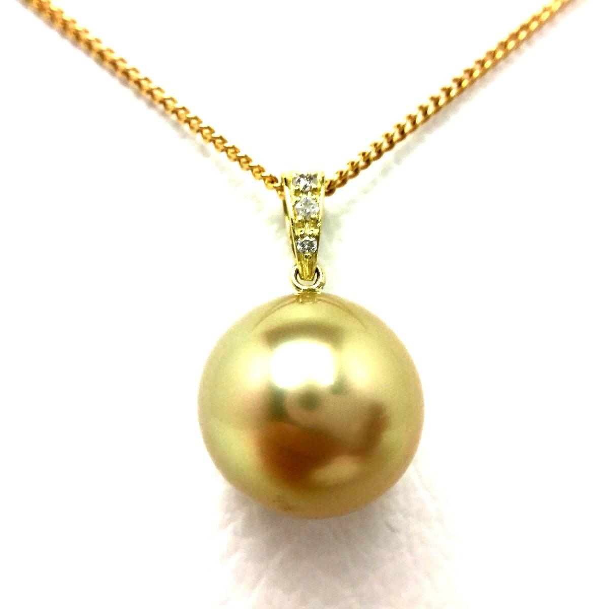 真珠 ペンダントトップ パール 白蝶真珠 12.45mm ゴールド(ナチュラル) K18 イエローゴールド ダイヤモンド 0.03ct 66829 イソワパール