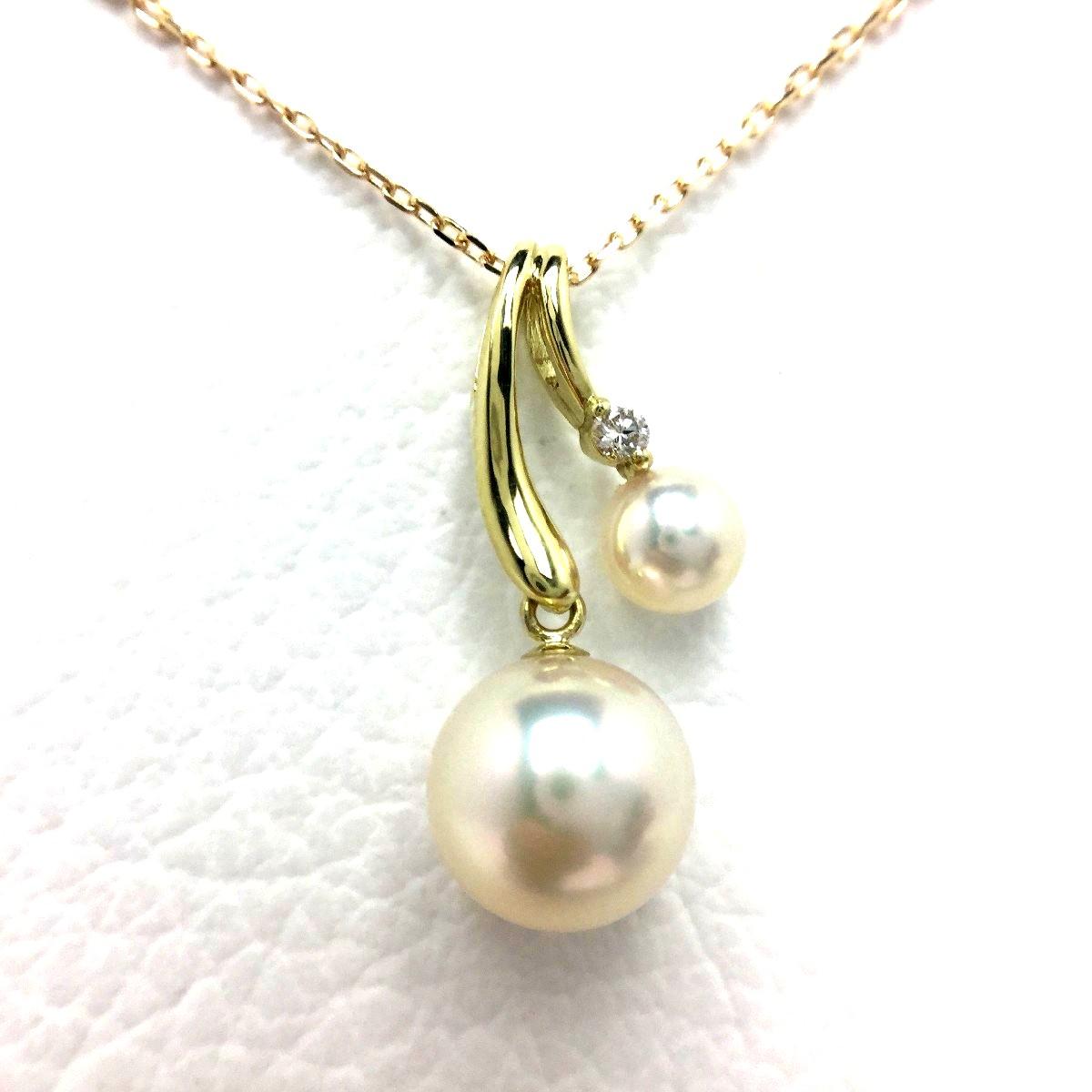 【10%OFF】真珠 ペンダント パール アコヤ真珠 7.53mm・4.4mm ホワイトピンク K18 イエローゴールド ダイヤモンド 0.02ct 植物 フラワー 66920 イソワパール
