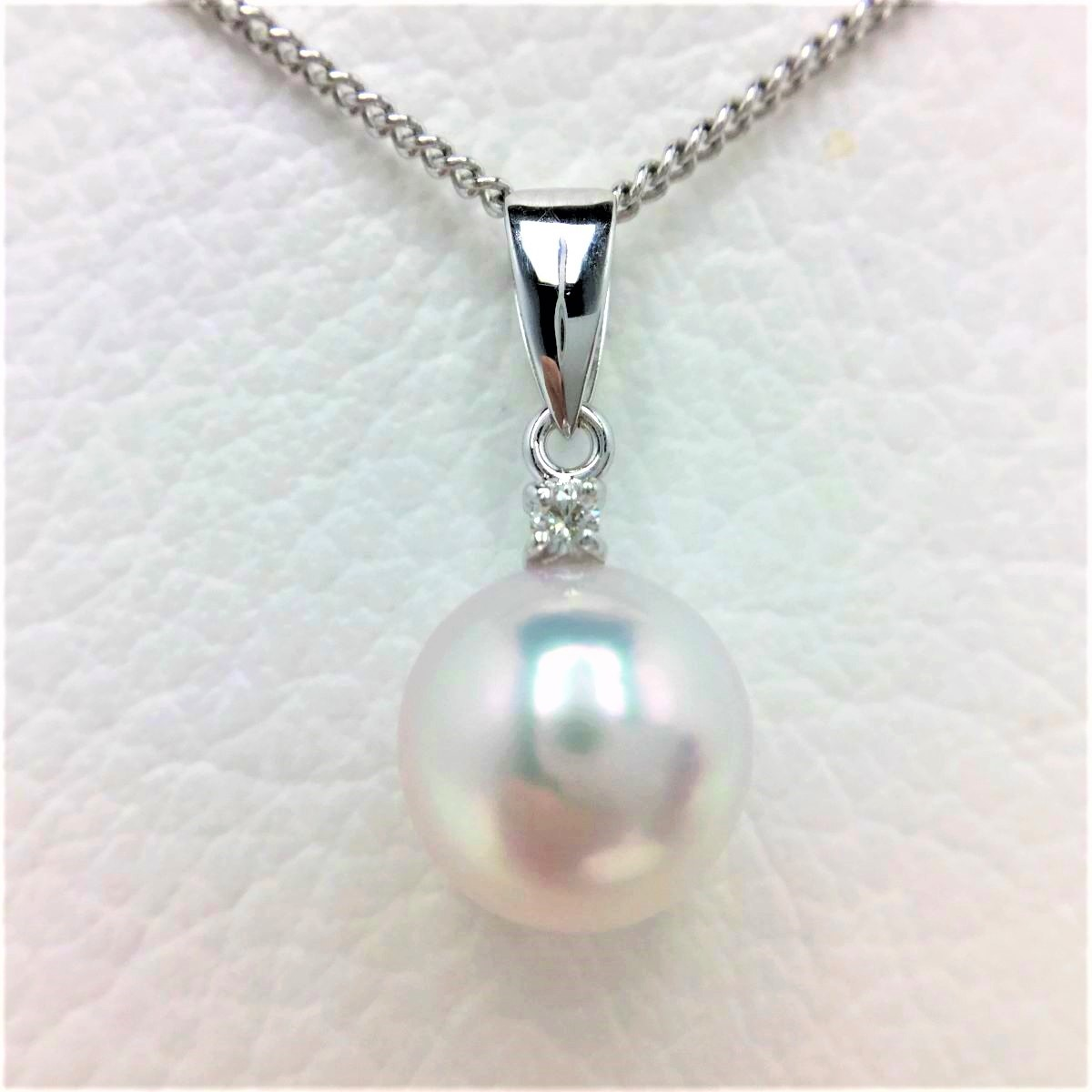 真珠 ペンダントトップ パール アコヤ真珠 9.28mm ホワイトピンク K18 ホワイトゴールド ダイヤモンド 0.03ct 66992 イソワパール