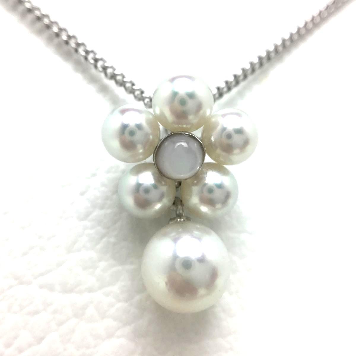 真珠 ペンダントトップ パール アコヤ真珠 6.5mm・4mm ホワイトピンク K18 ホワイトゴールド シェル 67014 イソワパール