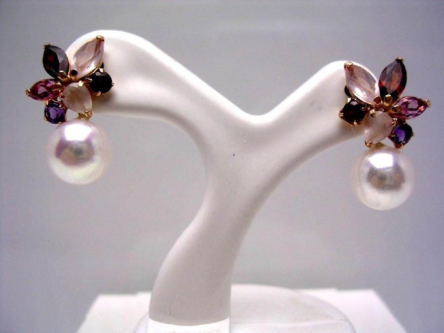 真珠 ピアス パール アコヤ真珠 スタッド 7.0-7.5mm ホワイトピンク K18 イエローゴールド 天然石 40156 イソワパール
