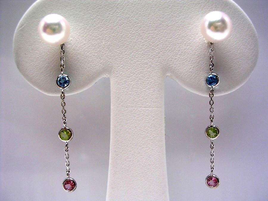真珠 ピアス パール アコヤ真珠 スタッド 7-7.5mm ホワイトピンク K14 ホワイトゴールド 天然石 43225 イソワパール