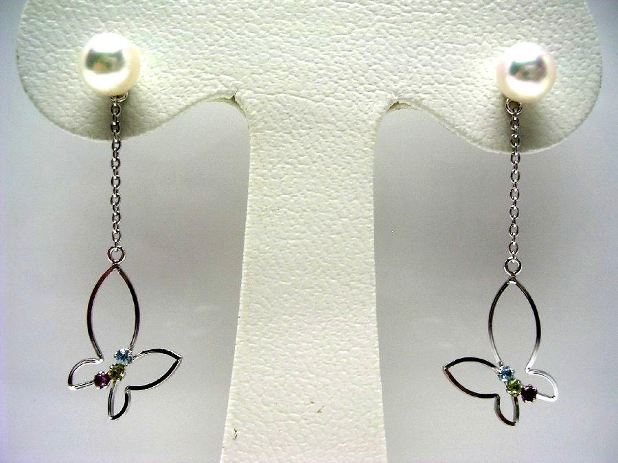 【10%OFF】真珠 ピアス パール アコヤ真珠 スタッド 5.9mm ホワイトピンク K14 ホワイトゴールド 天然石 昆虫 蝶々 55692 イソワパール