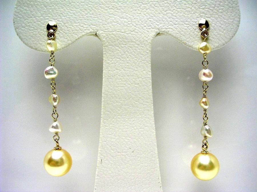 真珠 ピアス パール 母の日 アコヤ真珠 スタッド 7.5-8mm・2-2.5mm ゴールド(ナチュラル) K18 イエローゴールド 56323 イソワパール