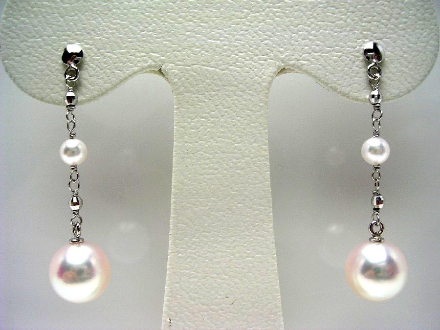 真珠 ピアス パール 母の日 アコヤ真珠 スタッド 8-8.5mm・2-2.5mm ホワイトピンク K18 ホワイトゴールド 56373 イソワパール