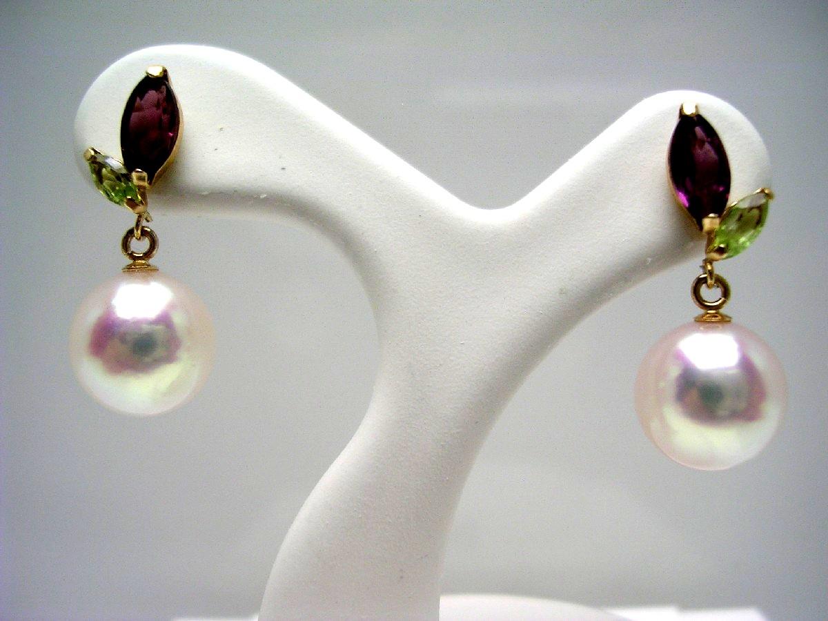 真珠 ピアス パール アコヤ真珠 スタッド 7.8mm ホワイトピンク K18 イエローゴールド 天然石 56972 イソワパール
