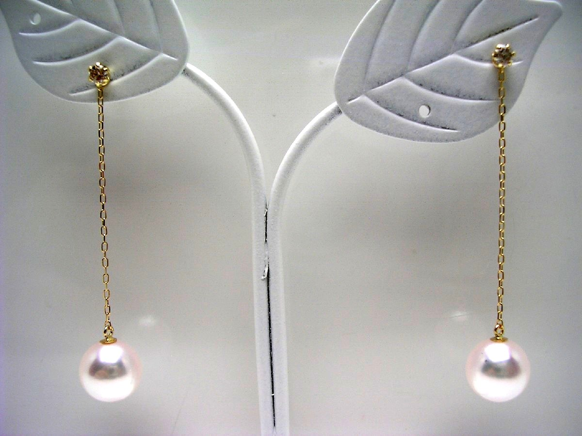 真珠 ピアス パール アコヤ真珠 スタッド 7.7mm ホワイトピンク K18 イエローゴールド ダイヤ 0.10ct 64858 イソワパール