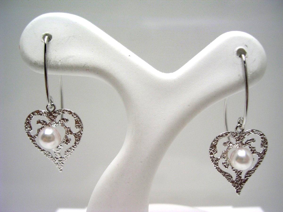 真珠 ピアス パール アコヤ真珠 フック 3.5mm ホワイトピンク K18 ホワイトゴールド ハート 65349 イソワパール