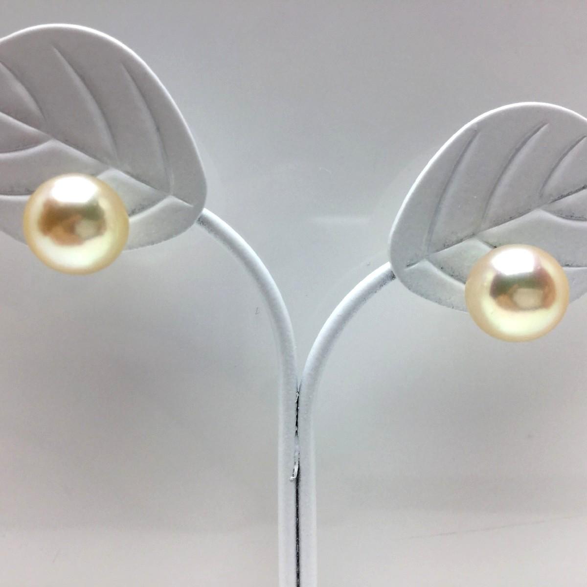 【10%OFF】真珠 ピアス パール アコヤ真珠 スタッド 8.4mm シャンパンゴールド K18 イエローゴールド 65498 イソワパール