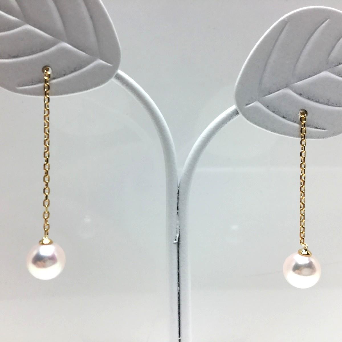 真珠 ピアス パール アコヤ真珠 チェーン 5.0-5,5mm ホワイトピンク K18 イエローゴールド 66394 イソワパール