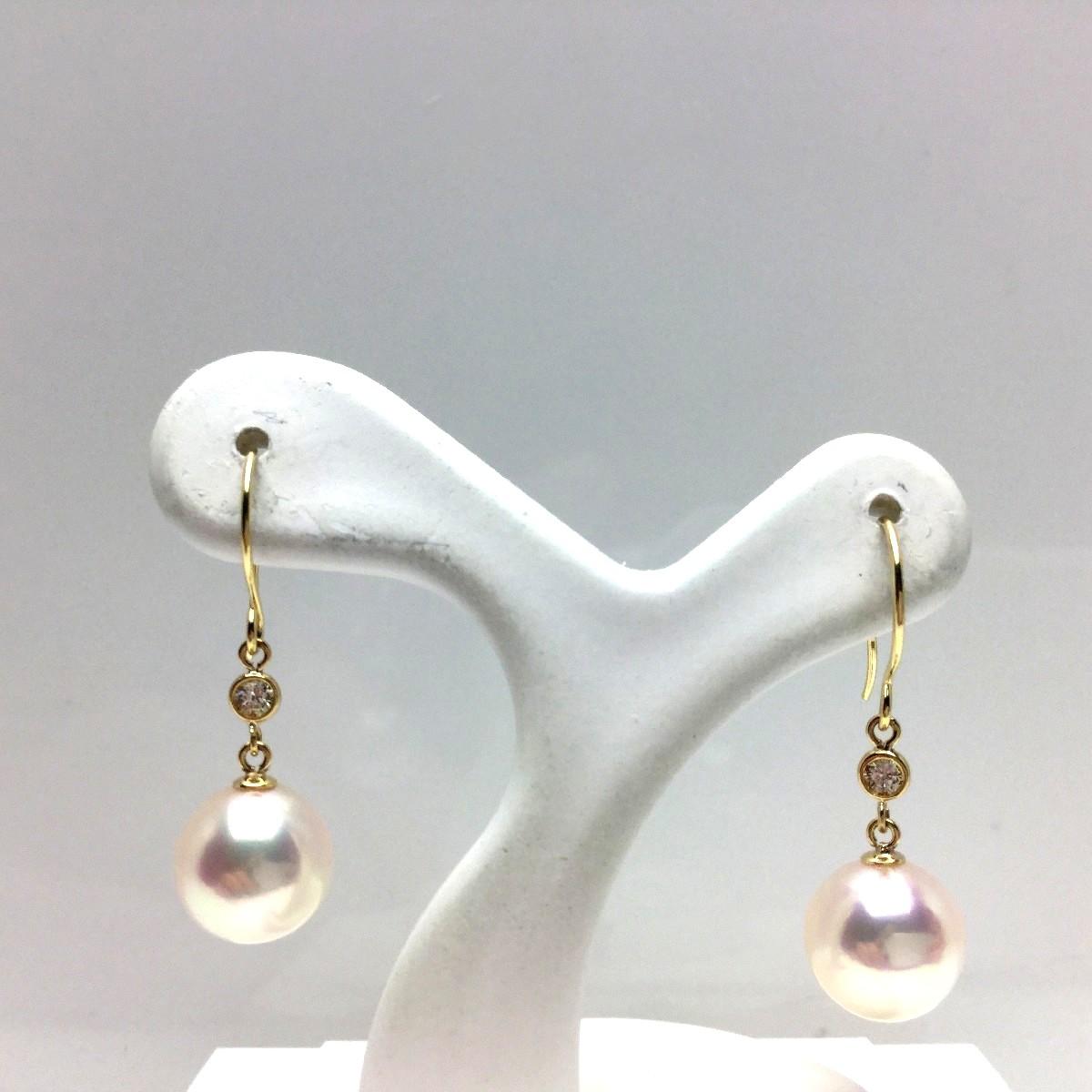 真珠 ピアス パール アコヤ真珠 フック 7.35mm ホワイトピンク K18 イエローゴールド ダイヤモンド 0.02ct 66967 イソワパール