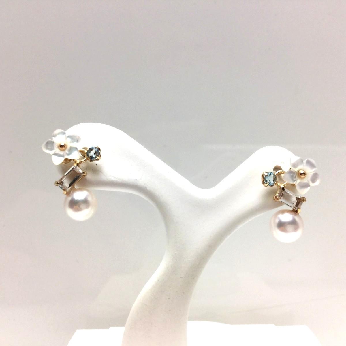 【10%OFF】真珠 ピアス パール アコヤ真珠 スタッド 5.0mm ホワイトピンク K10 イエローゴールド 天然石 67015 イソワパール