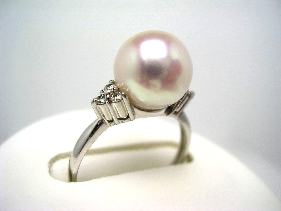 真珠 リング パール 花珠 アコヤ真珠 9.0mm ホワイトピンク Pt900 プラチナ ダイヤモンド 0.1ct 52653 イソワパール