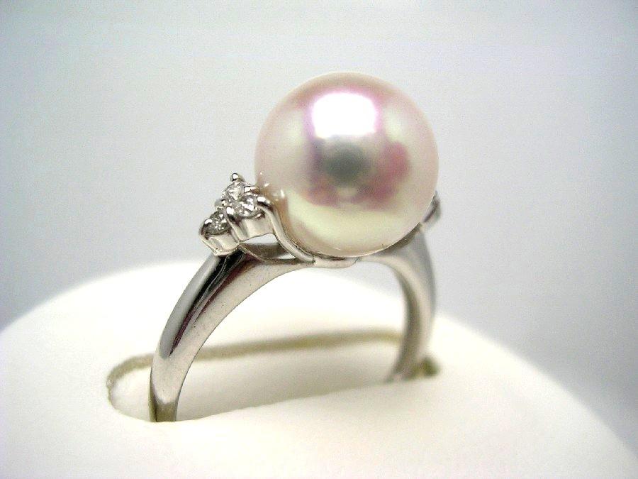 真珠 リング パール 花珠 アコヤ真珠 9.2mm ホワイトピンク Pt900 プラチナ ダイヤモンド 0.1ct 52744 イソワパール
