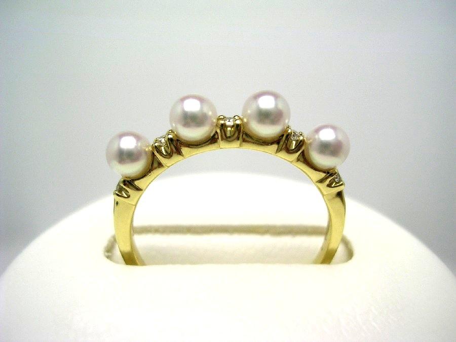 真珠 リング パール アコヤ真珠 3.6mm ホワイトピンク K18 イエローゴールド ダイヤモンド 0.05ct 52978 イソワパール