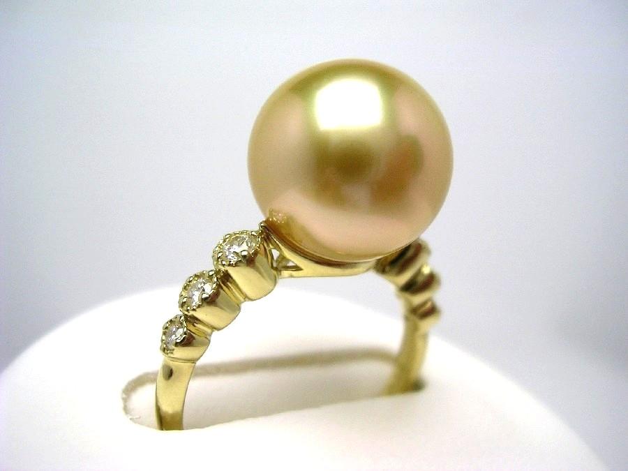 真珠 リング パール 母の日 GoldLip花珠 白蝶真珠 11.3mm ゴールド(ナチュラル) K18 イエローゴールド ダイヤモンド 0.15ct 53336 イソワパール