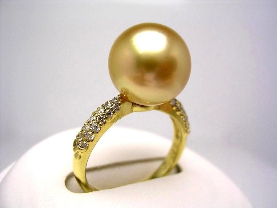 真珠 リング パール 母の日 GoldLip花珠 白蝶真珠 11.6mm ゴールド(ナチュラル) K18 イエローゴールド ダイヤモンド 0.3ct 53880 イソワパール