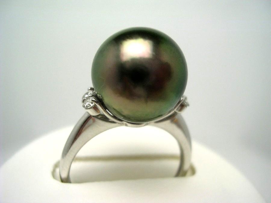 真珠 リング パール オーロラ・ラグーン 黒蝶真珠 11.6mm ピーコックグリーン Pt900 プラチナ ダイヤ 0.1ct 55524 イソワパール
