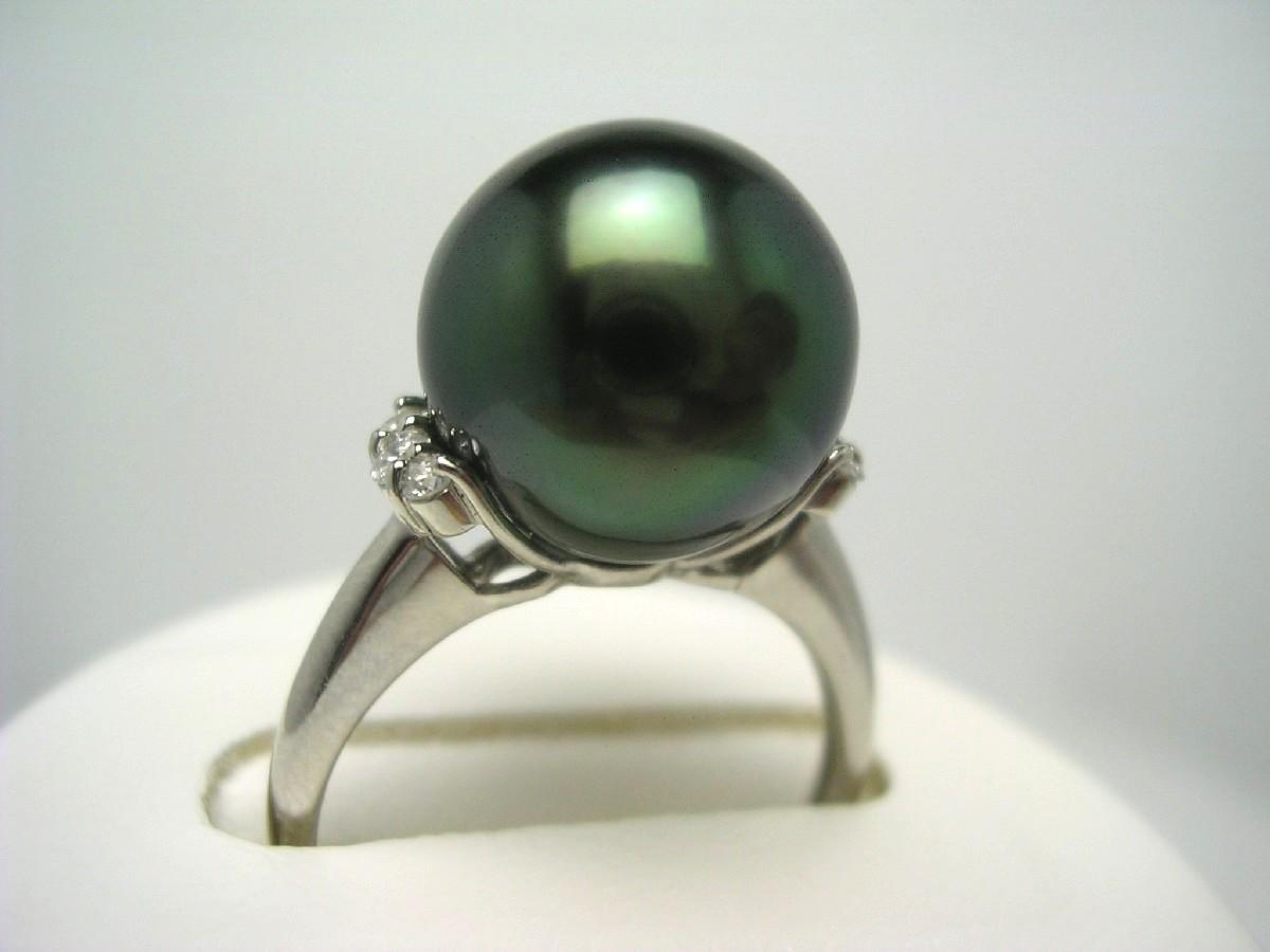 【10%OFF】真珠 リング パール ピーコックグリーンカラー 黒蝶真珠 11.5mm ピーコックグリーン Pt900 プラチナ ダイヤ 0.1ct 57249 イソワパール