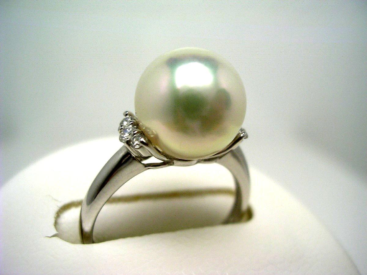 真珠 リング パール 花珠 アコヤ真珠 9.5mm ホワイト系ホワイトピンク Pt900 プラチナ ダイヤモンド 0.1ct 60077 イソワパール